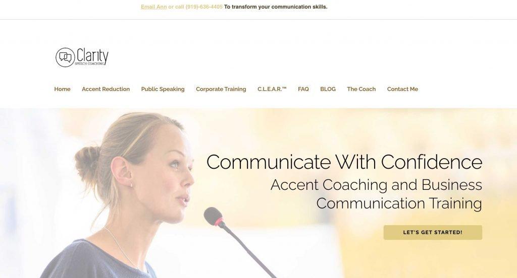 Coaching website for speech coach in NC