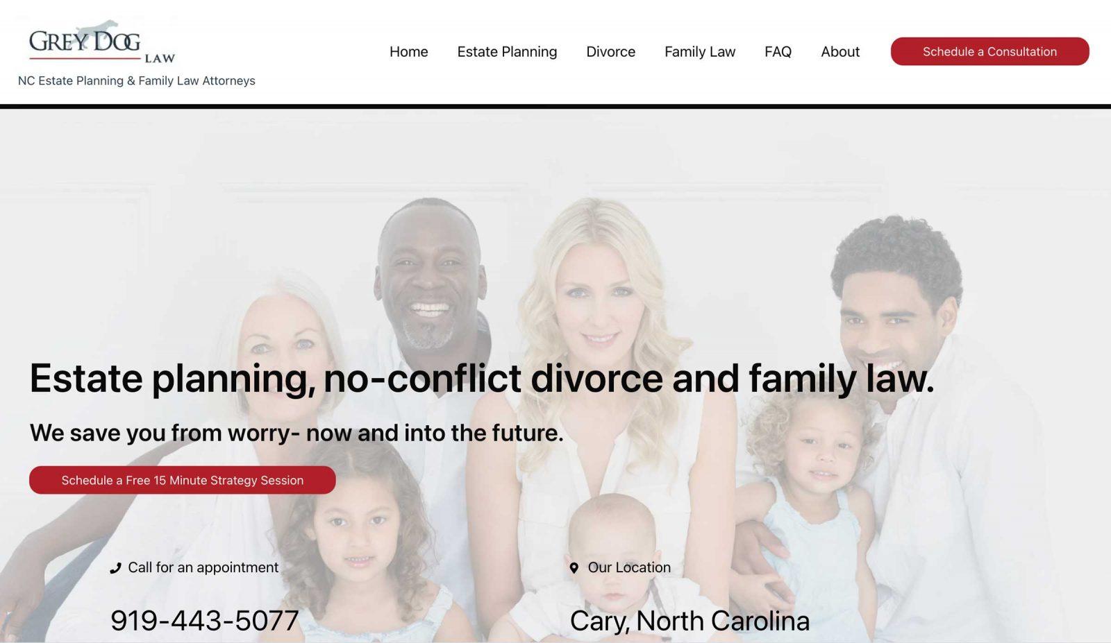 Grey Dog Law website designed by Web Luminary Cary, NC