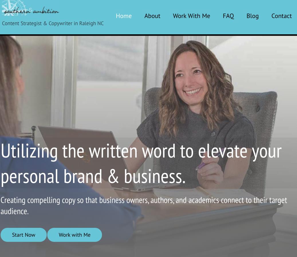 Southern Ambition WordPress website client screen shot