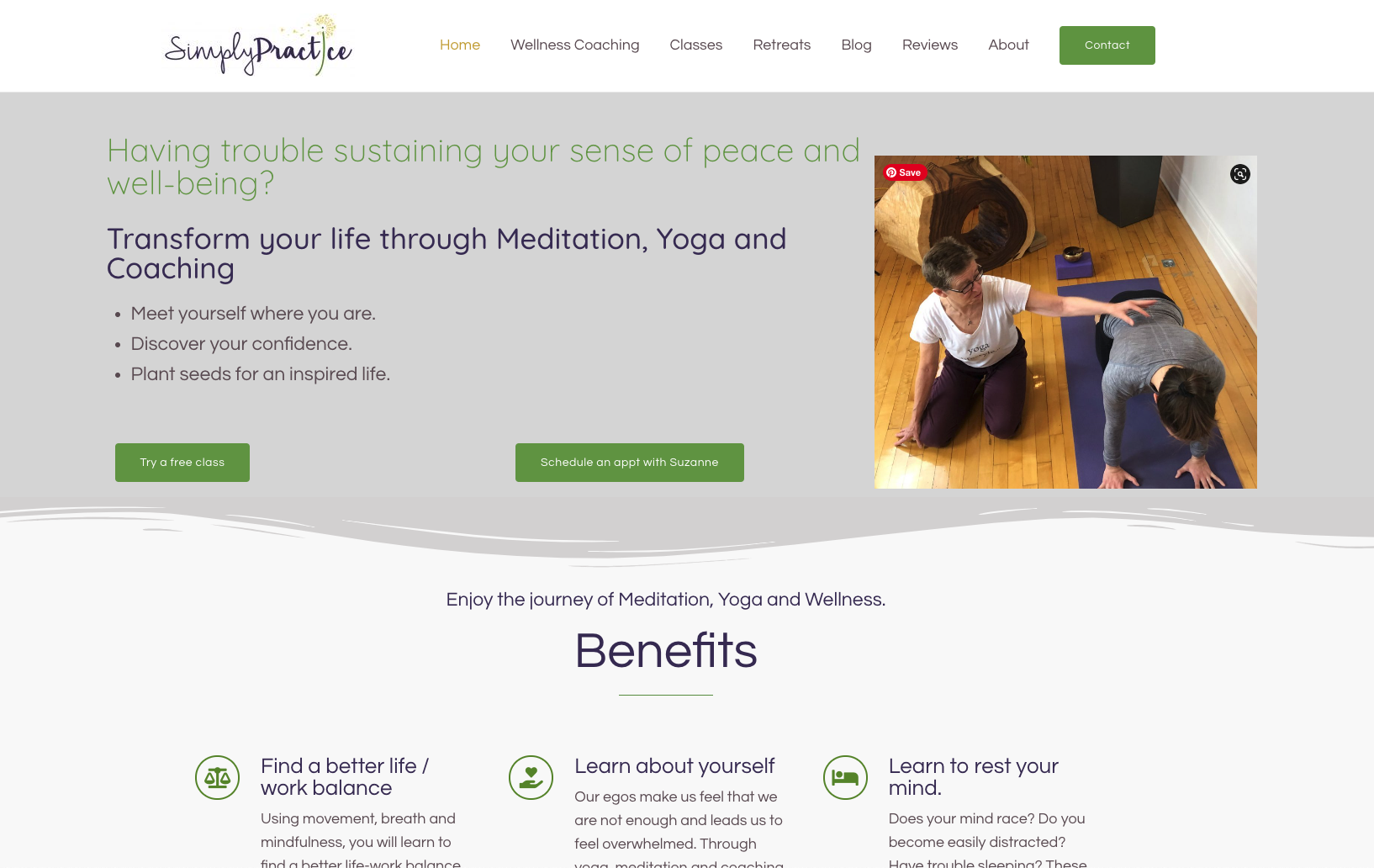 Simply Practice website design for Yoga and Wellness Coaching